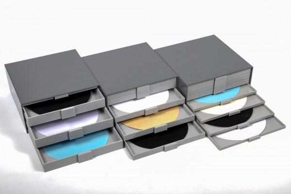 Scheiben-Aufbewahrungs-Boxen bis Ø 250 mm, Kunststoff, mittelgrau