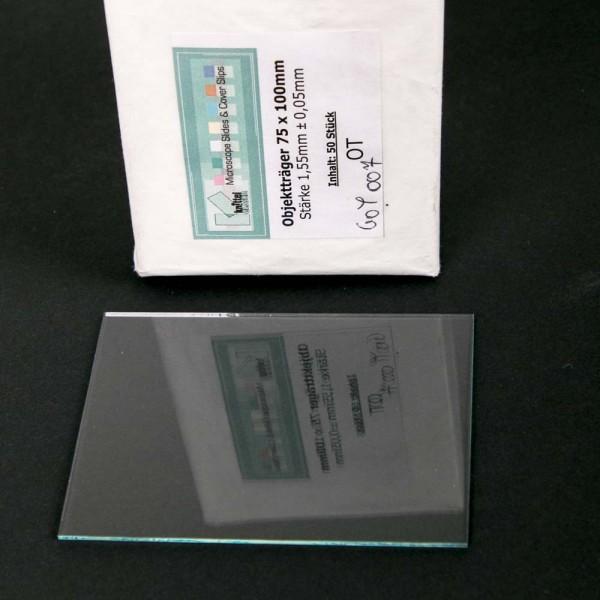 Glasobjektträger 75 x 100 mm, 1,5 - 1,6 mm, 20 Stück