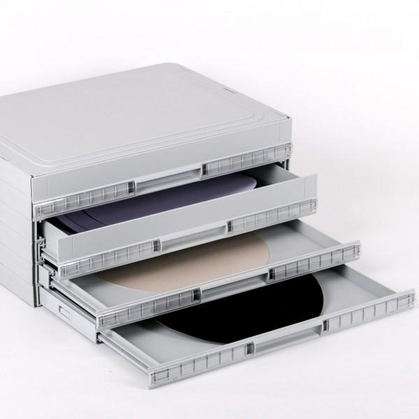 Scheiben-Aufbewahrungs-Boxen bis Ø 300 mm, Kunststoff, mittelgrau