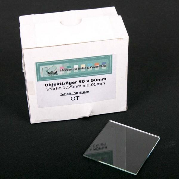 Glasobjektträger 50 x 50 mm, 1,5 - 1,6 mm, versch. Ausführg., 50 Stück