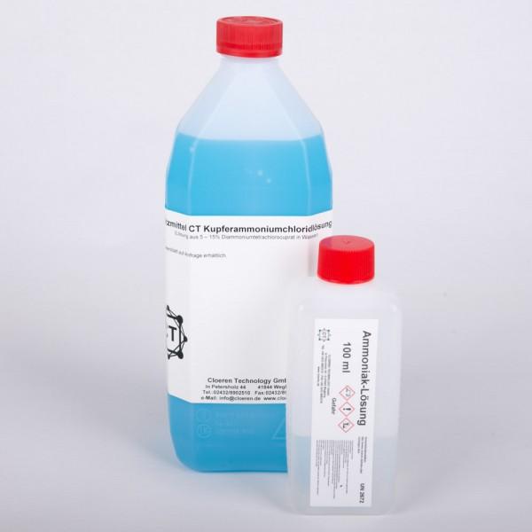 Kupferamoniumchlorid, 1 Liter und Ammoniak, 100 ml